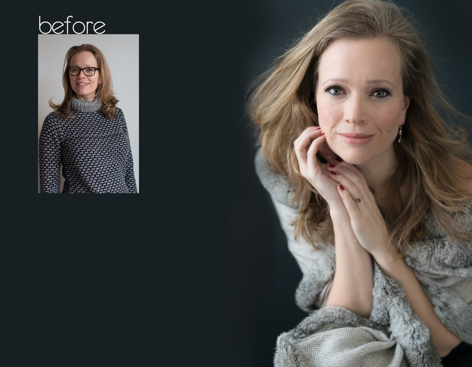 before after fotoshoot Anasha Rotterdam beauty headshot corporate branding fotostudio Katinka Tromp