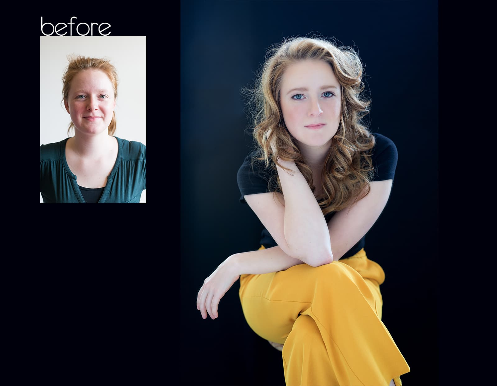 before after fotoshoot Berlin Rotterdam beauty headshot corporate branding fotostudio Katinka Tromp