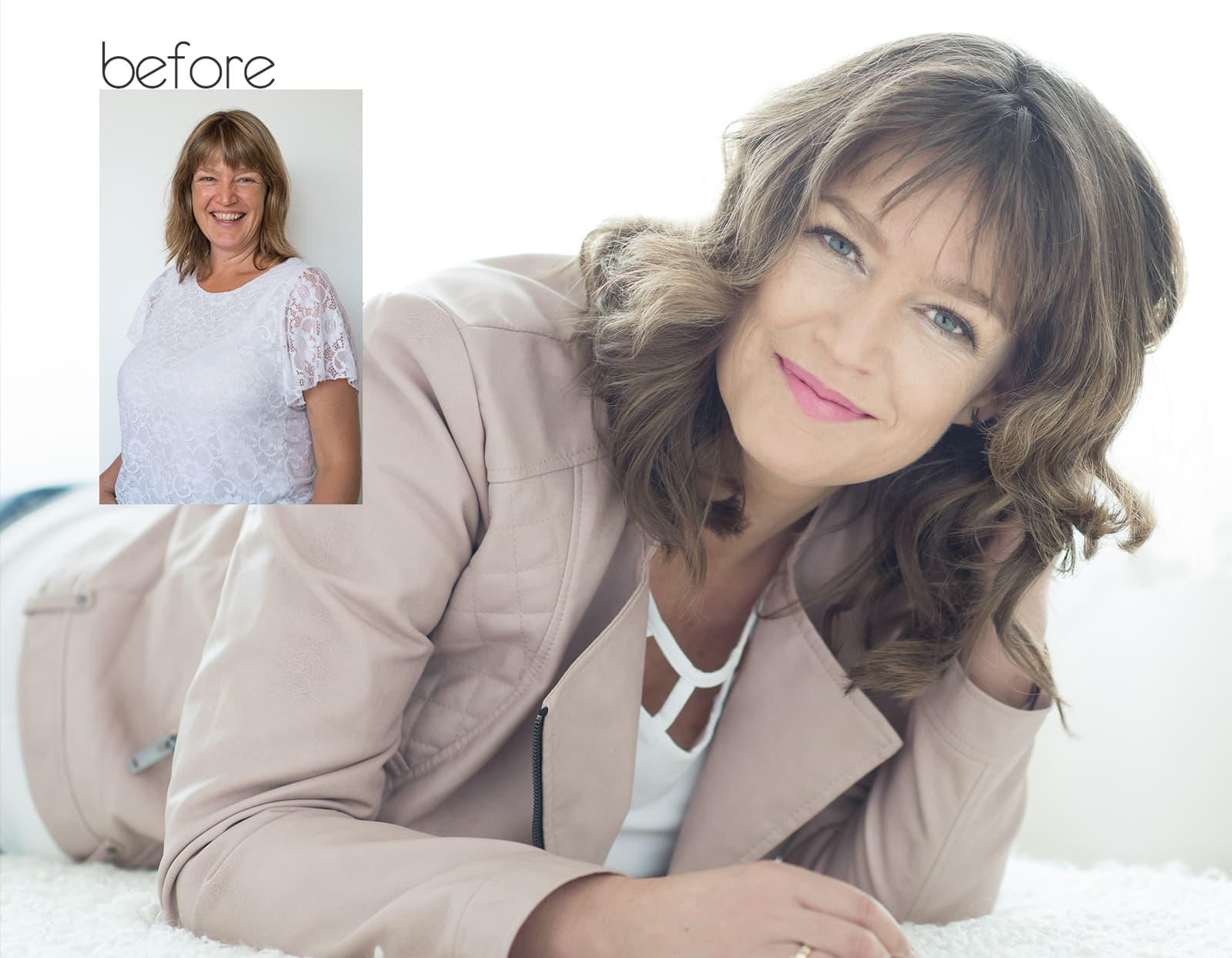 before after fotoshoot Anke Rotterdam beauty headshot corporate branding fotostudio Katinka Tromp