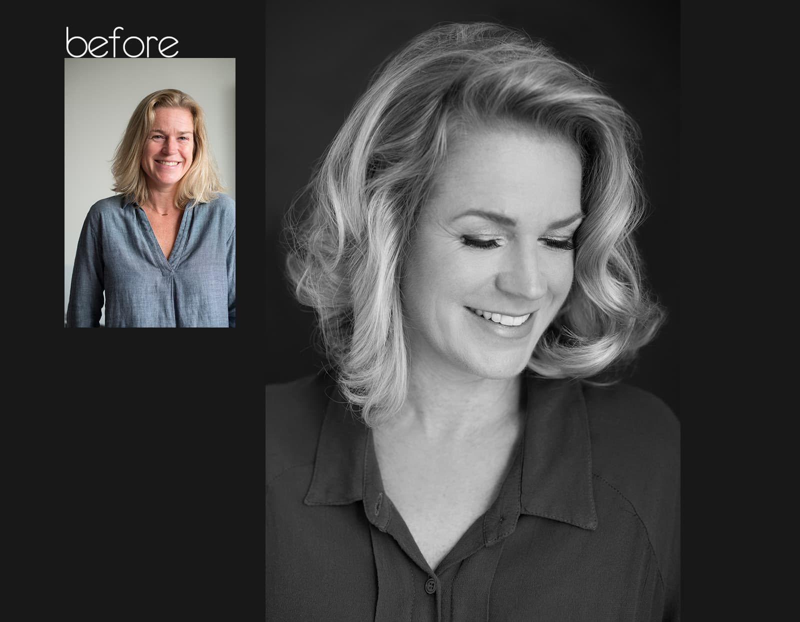 before after fotoshoot Carin Rotterdam beauty headshot corporate branding fotostudio Katinka Tromp