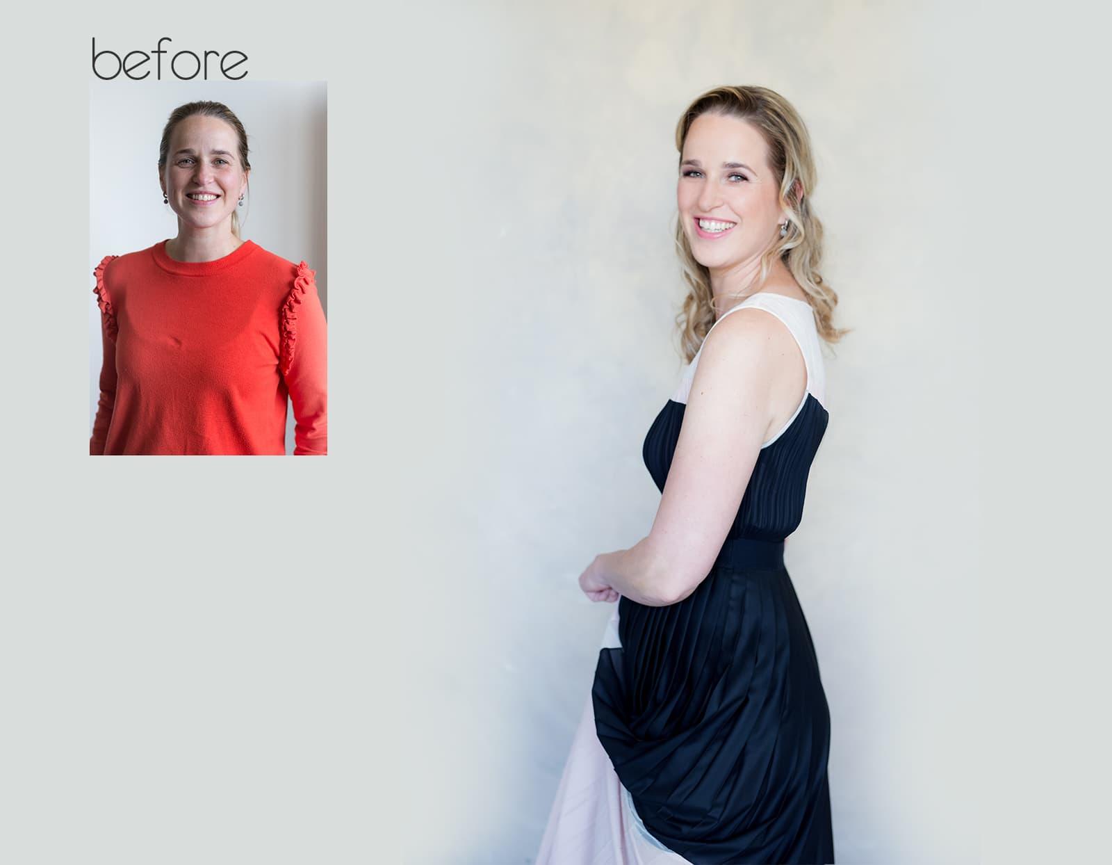 before after fotoshoot Mariska Rotterdam beauty headshot corporate branding fotostudio Katinka Tromp