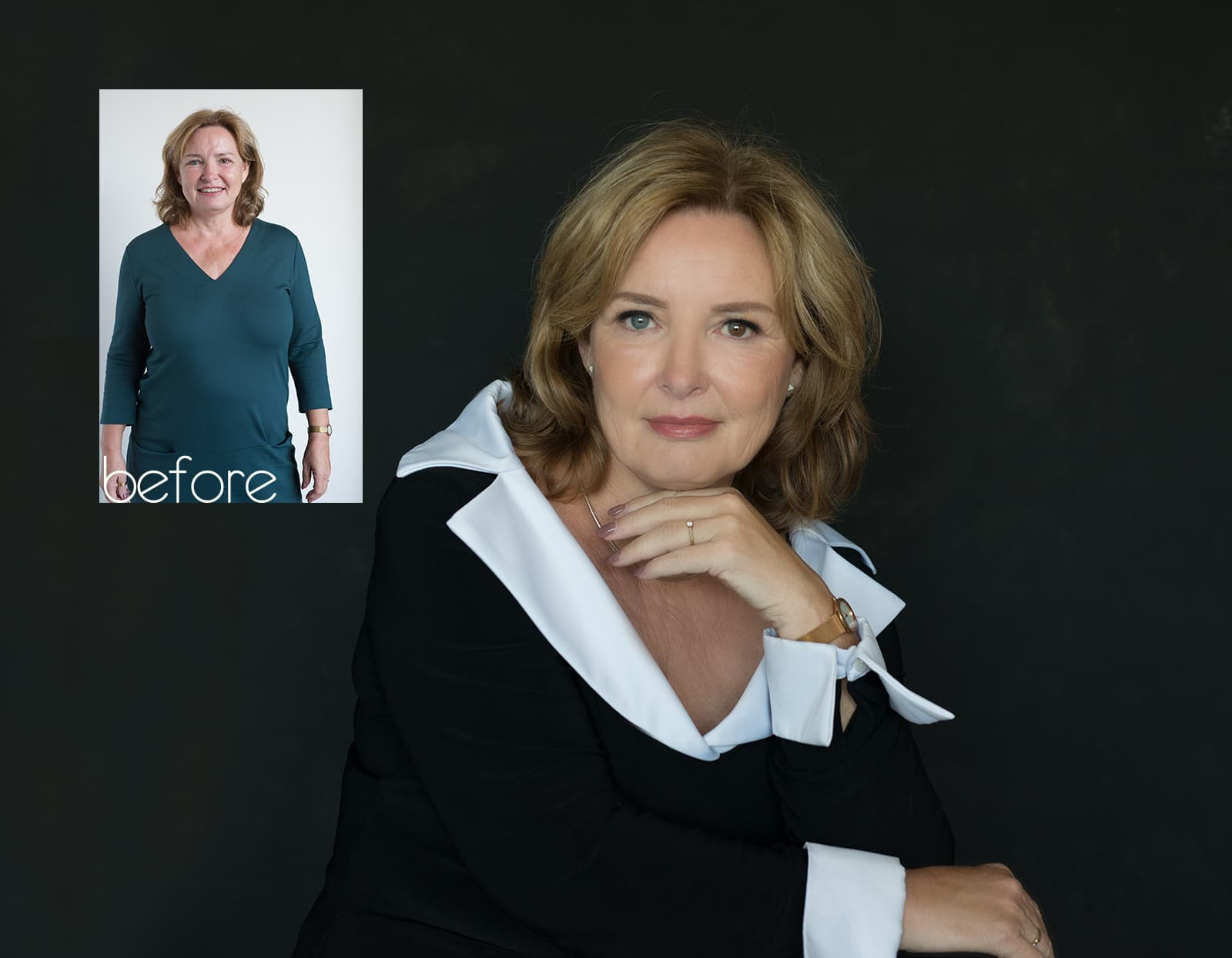 before after fotoshoot Ingrid Rotterdam beauty headshot corporate branding fotostudio Katinka Tromp