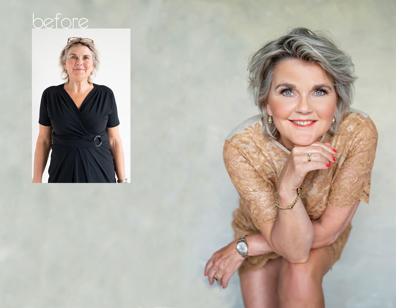 before after fotoshoot Liesbeth -beauty- headshot - corporate branding - fotostudio Katinka Tromp Rotterdam